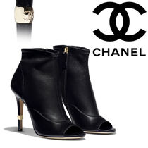CHANEL Open Toe Plain Leather Pin Heels Elegant Style