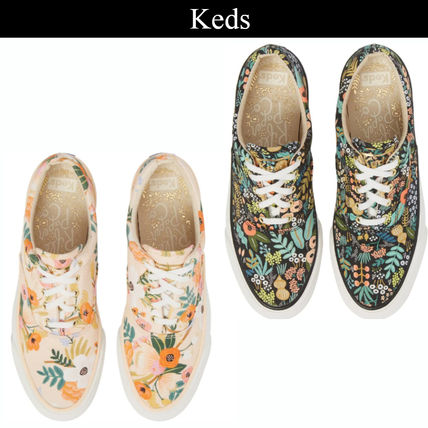 Flower Patterns Plain Toe Rubber Sole Lace-up Casual Style