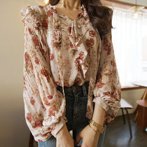 Flower Patterns Casual Style Chiffon Long Sleeves