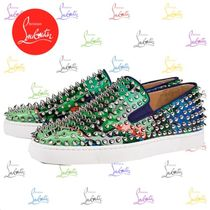 Christian Louboutin ROLLER BOAT Tropical Patterns Loafers Blended Fabrics Studded Leather