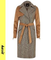 River Island Other Check Patterns Faux Fur Long Trench Coats