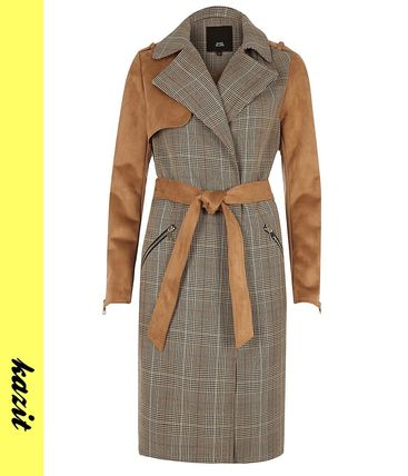 Other Check Patterns Faux Fur Long Trench Coats