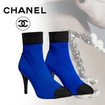 CHANEL Blended Fabrics Street Style Bi-color Pin Heels