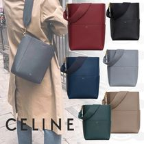2bc44f5dde CELINE Sangle Unisex Calfskin 2WAY Plain Elegant Style Shoulder Bags