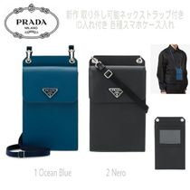 PRADA Unisex Blended Fabrics Plain Leather Smart Phone Cases