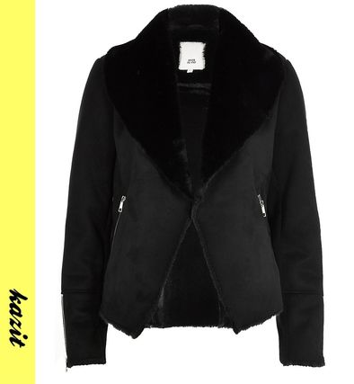 Faux Fur Medium Biker Jackets