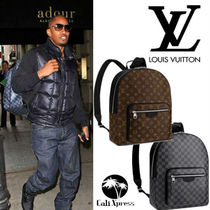 Louis Vuitton MONOGRAM MACASSAR Monogram Unisex Street Style A4 2WAY Leather Backpacks