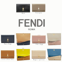 FENDI BY THE WAY Plain Leather Folding Wallets