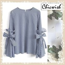 Chicwish Stripes Cotton Medium Elegant Style Puff Sleeves