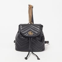 GUCCI Chain Plain Leather Elegant Style Backpacks