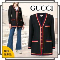 GUCCI Stripes Wool Blended Fabrics Plain Medium Jackets