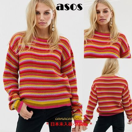 Crew Neck Stripes Casual Style Rib Long Sleeves Sweaters