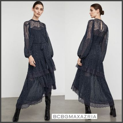 Dots Maxi U-Neck Long Sleeves Long Lace Dresses