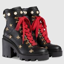 GUCCI Star Platform Leather Ankle & Booties Boots