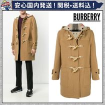 Burberry Other Check Patterns Wool Blended Fabrics Plain Long