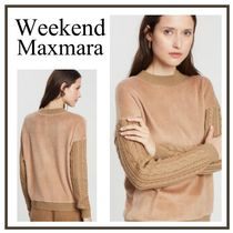 Weekend Max Mara Cable Knit Casual Style U-Neck Long Sleeves Cotton Medium
