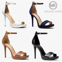 Michael Kors Open Toe Casual Style Plain Leather Pin Heels Heeled Sandals