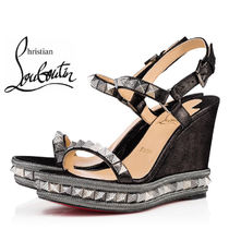 Christian Louboutin Pyraclou Open Toe Suede Studded Plain Platform & Wedge Sandals