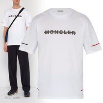 MONCLER Crew Neck Plain Cotton Short Sleeves Crew Neck T-Shirts