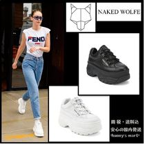 Naked Wolfe Casual Style Faux Fur Street Style Handmade Low-Top Sneakers