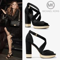 Michael Kors Open Toe Rubber Sole Casual Style Suede Plain Heeled Sandals