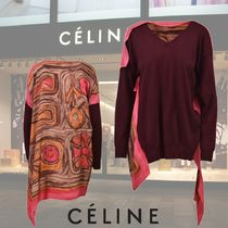 CELINE Wool Blended Fabrics V-Neck Long Sleeves Plain Medium