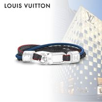 Louis Vuitton DAMIER GRAPHITE Other Check Patterns Blended Fabrics Plain Leather Bracelets