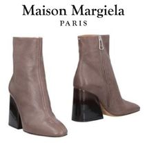 Maison Martin Margiela Round Toe Plain Leather Chunky Heels Ankle & Booties Boots
