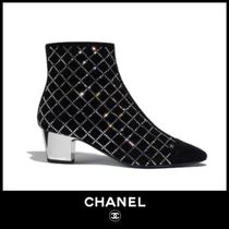 CHANEL Other Check Patterns Suede Block Heels Ankle & Booties Boots