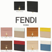FENDI BY THE WAY Plain Leather Card Holders