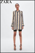 ZARA Stripes Casual Style Long Sleeves Shirts & Blouses