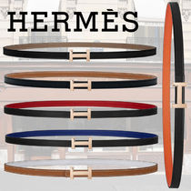 HERMES Plain Leather Elegant Style Belts