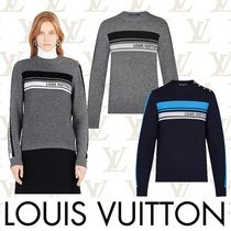 Louis Vuitton Crew Neck Short Casual Style Cashmere Long Sleeves Plain