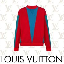 Louis Vuitton Crew Neck Short Casual Style Bi-color Long Sleeves Cotton