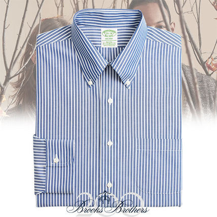 Button-down Stripes Long Sleeves Cotton Shirts