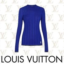 Louis Vuitton Crew Neck Short Casual Style Wool Rib Long Sleeves Plain