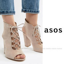 ASOS Open Toe Lace-up Casual Style Plain Chunky Heels Sandals