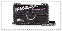 PINKO Heart Blended Fabrics Chain Leather Elegant Style Crossbody