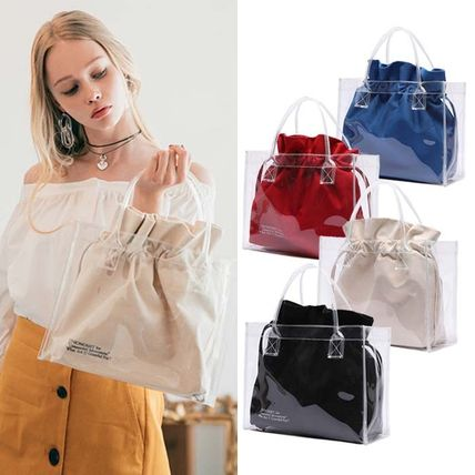 Casual Style Street Style Plain Crystal Clear Bags Totes
