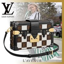 Louis Vuitton PETITE MALLE Monogram Studded 2WAY Leather Elegant Style Shoulder Bags