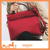 HERMES 2WAY Plain Elegant Style Handbags