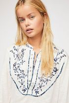 Free People Flower Patterns Casual Style Puffed Sleeves Plain Cotton