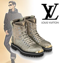 Louis Vuitton Flower Patterns Blended Fabrics Leather Python Boots
