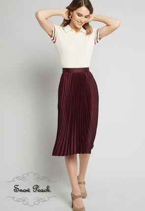 Pleated Skirts Plain Medium Elegant Style Midi Skirts