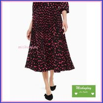 kate spade new york Heart Pleated Skirts Medium Elegant Style Midi Skirts
