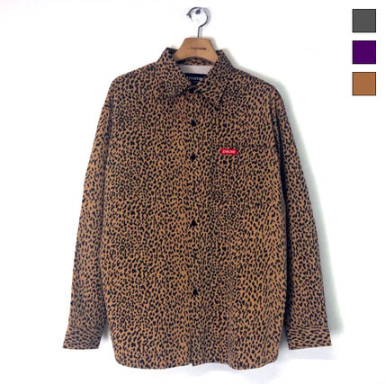 Shirts Leopard Patterns Unisex Street Style Long Sleeves Cotton