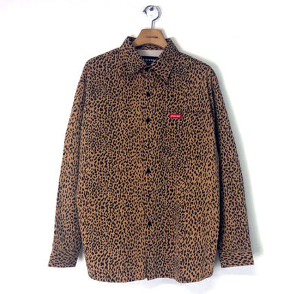 Shirts Leopard Patterns Unisex Street Style Long Sleeves Cotton 2