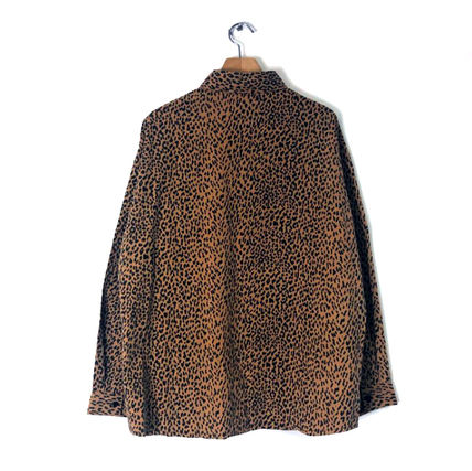 Shirts Leopard Patterns Unisex Street Style Long Sleeves Cotton 3