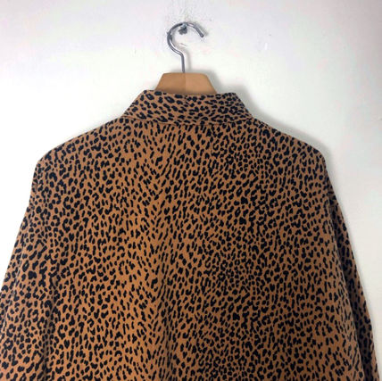 Shirts Leopard Patterns Unisex Street Style Long Sleeves Cotton 4