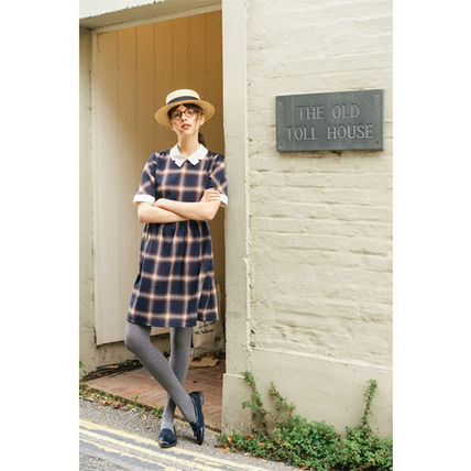 Other Plaid Patterns A-line Cotton Medium Short Sleeves